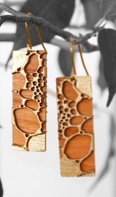 24 karat Gold Leafed Cherry Wood Earrings --all proceeds go to help alleviate global poverty-- Polymer Clay Jewelry, Resin Jewelry, Jewelry Art, Jewelry Design, Wooden Earrings, Wooden Jewelry, Handmade Jewelry, Gold Earrings, Green Earrings