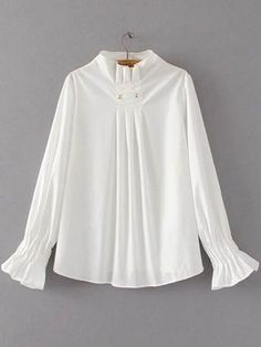 Flare Sleeve Draped Pullover Blouse - White SWhite Pleated Detail Dip Hem Blouse — € --------------------color: White size: M,SBlouses For Women SHEIN offers Tops & more to fit your fashionable needs. Kurta Designs, Blouse Designs, Hijab Fashion, Fashion Dresses, Hijab Stile, Blouse Styles, Blouses For Women, Designer Dresses, Fashion Design