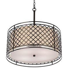 """Metal Lattice 4-Light 20 1/4"""" Wide Bronze Pendant Light"""