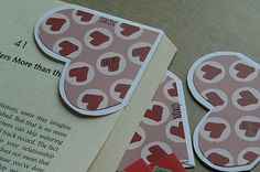 Quick and easy bookmark. Use the corner of an envelope and trace a heart from a stencil. Decorate with patterned paper. This will be a great gift for my book club.