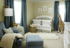 Simple and peaceful.  Love the accent color with floor length curtains.