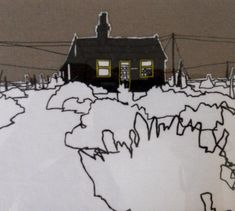 Detail of a framed textile of Derek Jarman's house, Dungeness. Silk Screen with applique and hand stitching. by Flo Snook