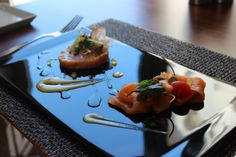 Duo of salmon with rouille emulsion, asparagus and citrus caviar