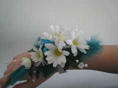 Wrist Corsage White Daisies Wedding Prom by RoseandPin @Gina Harrison without the feathers and use BB instead......with silver ribbon