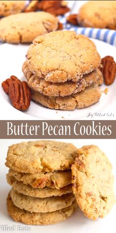 These Butter Pecan Cookies live up to their name. They are buttery and chock ful. These Butter Pecan Cookies live up to their name. They are buttery and chock full of pecans. They are crisp, sweet, and are the perfect sweet bite after supper. Keto Desserts, Gluten Free Desserts, Keto Snacks, Dessert Recipes, Dinner Recipes, Gluten Free Cookie Recipes, Gluten Free Recipes Videos, Pecan Cookie Recipes, Snacks Recipes