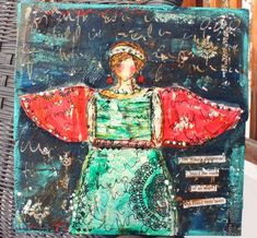 Angel mixed media art by Christy Tomlinson