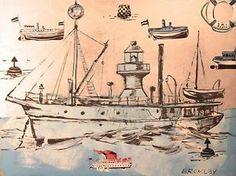 "DAVID BROMLEY ""Battleships"" Original Acrylic on Canvas 90cm x 120cm"
