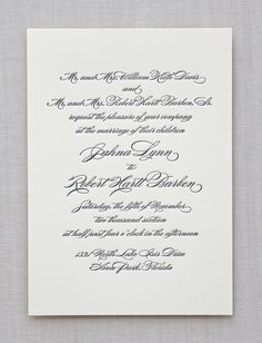 The Greenwich design features a traditional design that pairs beautifully with a classic calligraphy font. All letterpress and foil wedding invitation des Formal Wedding Invitations, Wedding Invitation Inspiration, Letterpress Wedding Invitations, Diy Invitations, Wedding Invitation Design, Wedding Stationery, Invitation Cards, Invites, Traditional Wedding Invitations