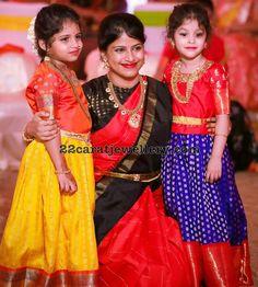 Cute Kids in Brocade Lehengas - Indian Dresses Kids Indian Wear, Kids Ethnic Wear, Half Saree Designs, Blouse Designs, Lehenga Designs, Blouse Patterns, Dress Designs, Kids Costumes Girls, Kids Outfits