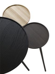 Linden side tables Design: Rene Barba These tables are made from solid ash come in three different finishes with a very cute small table measuring in diameter and in height in natural or grey. Large table is x 40 dia cm in black only Ligne Roset, Large Table, Small Tables, Side Tables, Black Stains, Long Legs, Home Accessories, Occasional Tables, Satin