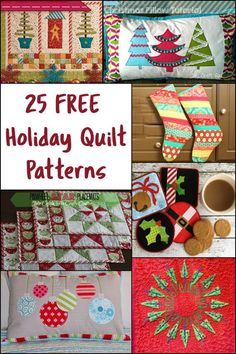 25 Free Holiday Quilt Patterns ConnieKresin.com #FreeQuiltPatterns