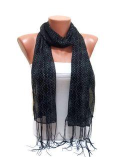 Black scarf with Crystals Black scarf TrendyScarf by TrendyScarf, $9.99