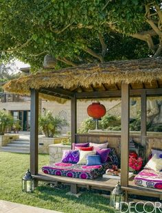 The bright purple pillows add a pop of color on this daybed in a Malibu home. Outdoor Beds, Outdoor Rooms, Outdoor Decor, Patio Gazebo, Backyard Landscaping, Cozy Patio, Malibu Homes, Purple Pillows, Bright Purple
