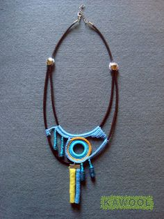 Kawool: [Colar] C #84 - necklace with crochet, felt, beads and metal elements