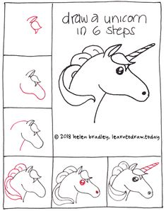 How to Draw a Unicorn in 6 Steps : Learn To Draw. How to draw a Unicorn . Have fun learning with drawing lessons for young and old. Doodle Art, Doodle Drawings, Drawing Sketches, Drawing Drawing, Drawing Tips, Figure Drawing, Drawing Lessons, Kawaii Drawings, Cartoon Drawings