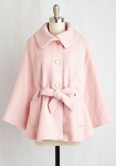 Central Park Sashay Cape. Bask in the majesty of changing leaves and chilly weather chams while clad in this blush pink cape! #pink #modcloth