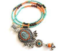 Bohemian hippie long beaded buddha necklace in turquoise and orange - ethnic kuchi pendant style - gypsy
