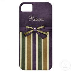 iphone5 Ornate Purple Green Gold Stripes Ribbons