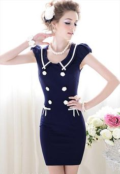 Navy Puff Sleeve Dress - sailor-inspired. Cute pocket detail!