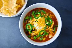 Healthy, easy chicken enchilada soup in the slow cooker.