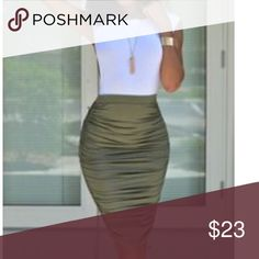 Olive green midi Runched midi pull on Olive green skirt PLEASE USE Poshmark new option you can purchase and it will give you the option to pick the size you want ( all sizes are available) BUNDLE And SAVE 10% ( sizes updated daily ) Skirts