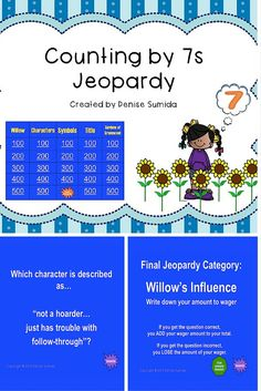 This game is a perfect way to review concepts and ideas from The Counting by 7s by Holly Goldberg Sloan. Jeopardy categories are Willow, Characters, Symbols, Title, and Gardens of Greenwood. Divide your class into teams or challenge your class to play other classes.