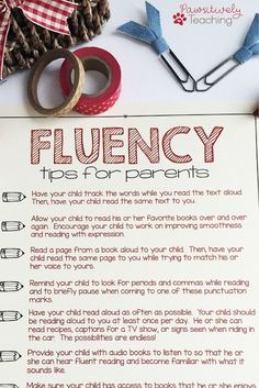 Fluency Tips for Parents Printable Tips for Parents to help with fluency. Improving Reading Fluency in the Primary Grades. - Parent InvolvementTips for Parents to help with fluency. Improving Reading Fluency in the Primary Grades. First Grade Reading, Kids Reading, Teaching Reading, Guided Reading, Title 1 Reading, Teaching Ideas, Reading Strategies, Reading Comprehension, Reading Tips