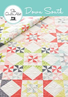 """FAT QUARTER FRIENDLYDown South is a fat quarter friendly quilt pattern and would also look great in a two colour version.  Full instructions are included for making the 16"""" finished block into a lap or twin sized quilt.Please refer to the quilt sizes and materials image for exact fabric requirements.•Selecting FabricsPerfect for your favourite fabric line or a curated fat quarter bundle from your favourite store.   The quilt shown uses five colours but you could use..."""