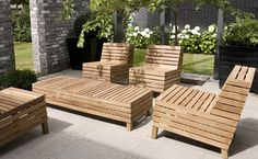 Teak Outdoor Furniture - neat design - could also be made of bamboo, metal, etc...heck, could even be made FREE from wood pallets!