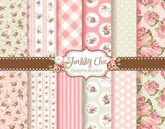 12 Shabby Chic Rose Digital Scrapbook Paper pack for invites, card making, digital scrapbooking. $4.99, via Etsy.