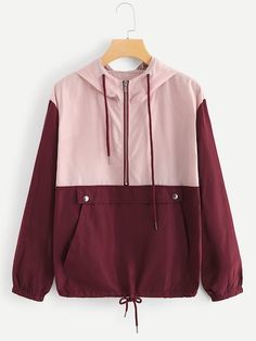 Drawstring Knot Kangaroo Pocket Hooded Jacket Women Activewear Colorblock Tops 2019 Spring Casual Coats And Jackets Multi XL Types Of Jackets, Jackets For Women, Clothes For Women, Fall Jackets, Windbreaker Jacket, Hooded Jacket, Sweater Jacket, Mode Simple, Spring Fashion Casual