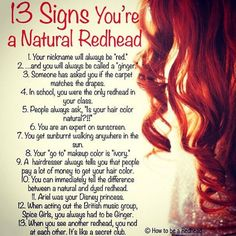 13 Signs You're A Natural Redhead | How to be a Redhead