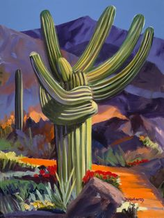 """A colorful, happy painting of a """"hugging"""" saguaro that exists in Tucson, Arizona. Art Prints, Southwest Art, Love Painting, Painting, Desert Art, Western Paintings, Folk Art Painting, Happy Paintings, Love Art"""