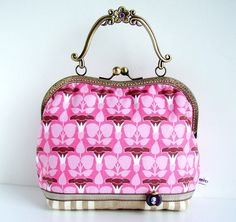 Vintage Art Nouveau Pastel Hand and Shoulder Purse.    Two shades of pink and two shades of brown together with cream stripes make this one of a kind