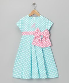 Take a look at this Aqua Polka Dot Initial Bow Dress - Girls by Monday's Child on #zulily today!