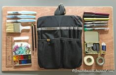 I have a thing for organization— my chaotic brain needs a calm, orderly environment to function well— so for me, bins, bags, and pouches are nearly as addictive as art supplies. I'm always looking for new and better ways to transport and carry my travel and field sketching tools. About a ye