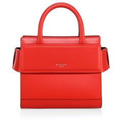 Givenchy Horizon Nano Leather Tote (10,785 HKD) ❤ liked on Polyvore featuring bags, handbags, tote bags, apparel & accessories, medium red, red leather tote, structured tote, red leather handbags, red tote and red leather purse