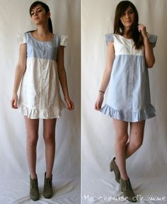 These two mini shirts dresses are made starting from 2 recycled man's shirt ....