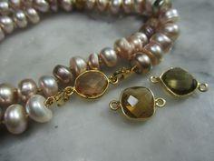 Perlenketten - TOM K Perle Armband Kette Tahiti Topas Set Tropfen - ein Designerstück von TOMKJustbe bei DaWanda
