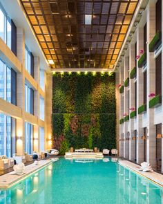 W Hotel, Guangzhou China - The Living Room - Yabu Pushelberg Indoor Swimming Pools, Swimming Pool Designs, Classical Architecture, Architecture Details, Plywood Furniture, Spa Luxe, Hotel Lobby Design, Architectural Photographers, Villa