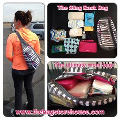 Thirty-One Sling Back Bag in Grey Wave