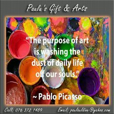 """""""The purpose of art is washing the dust of daily life off our souls. Art Quotes, Funny Quotes, Art Life, Pablo Picasso, Purpose, Gifts, Funny Phrases, Presents, Funny Qoutes"""
