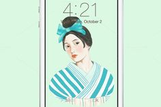 Check out Kimono Girl Wallpaper (mint) by Littlelu Original on Creative Market