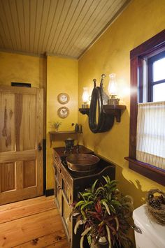A pail as a sink!!  Hearthstone Homes: Hand Hewn Projects: The Green Family Home