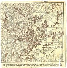 Map of locations of bombing in Nottingham during the Second World War. Published in the Nottingham Evening Post 17 May 1945 Nottingham Caves, Nottingham Map, Old Pictures, Old Photos, Blitz Kids, Family Tree Chart, Old Maps, History Photos, Cartography