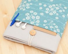 13 inch Macbook pro case / Macbook air 13 case / Macbook 13 sleeve /  Laptop sleeve / padded with pockets  - blue dreams - on Etsy, $35.50