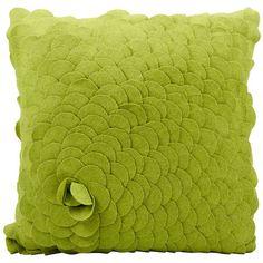 Mina Victory Felt Rose Green 20 x Decorative Pillow by Nourison Green Throw Pillows, Modern Throw Pillows, Toss Pillows, Accent Pillows, Decorative Throw Pillows, Felt Roses, Felt Flowers, Fabric Flowers, Felt Cushion
