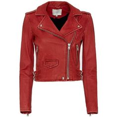 IRO Ashville Biker Leather Jacket ($1,198) ❤ liked on Polyvore featuring outerwear, jackets, red zipper jacket, biker jacket, red leather jacket, zip jacket and lined jacket