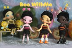 Bee WithMe in special limited colors: pink - glow pink, orange - glow yellow, choco tan /w glowing goggles & wings.  'Bee Outfit' by Lin Murasaki Design in yellow/black, pink/black and orange/black ~soon updated in the Creature Shop  http://www.charlescreaturecabinet.net/store/c1/Afgebeelde_producten.html