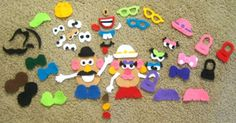 DIY Mr. Potato Head Felt People.  Could make a potato head on a book with a pocket for all the accessories.